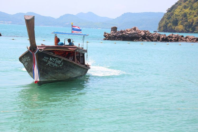 Thailand 2017 Beach Day Longboat Mode Of Transport Mountain Nature Nautical Vessel No People Outdoors Sea Sky Tailandia2017 Thailandboat Tranquility Transportation Water