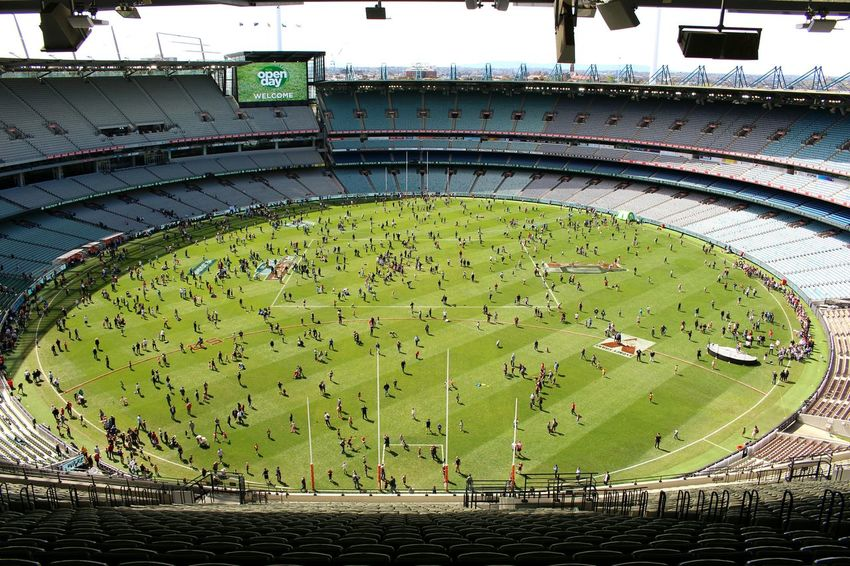 This is what happens when you leave the doors open on a stadium right after the AFL grand final in Australia. Water Travel Destinations Tourism The Past Famous Place Architectural Feature Creativity History Monument Swimming Sea Vacations In Front Of Circle Green Color Flying Geometric Shape Melbourne Mcg Open Day
