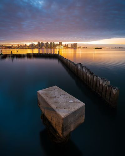 The Finest City Sky Travel Destinations Clouds Sandiego Long Exposure Water Sky Cloud - Sky Waterfront Reflection Sea No People Scenics - Nature Tranquility Tranquil Scene Built Structure Outdoors Architecture Sunset Pier Wooden Post
