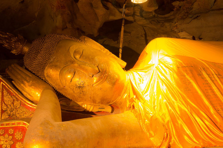 Buddha sleep Buddha Buddha Sleep Thailand Buddha Statue Buddism Gold Colored Sculpture Travel Destinations Unseenthailand