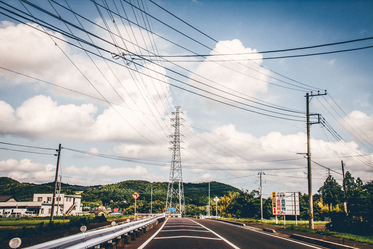 cable, power line, connection, electricity pylon, power supply, sky, electricity, cloud - sky, transportation, day, road, fuel and power generation, no people, technology, outdoors, tree, complexity, telephone line, nature
