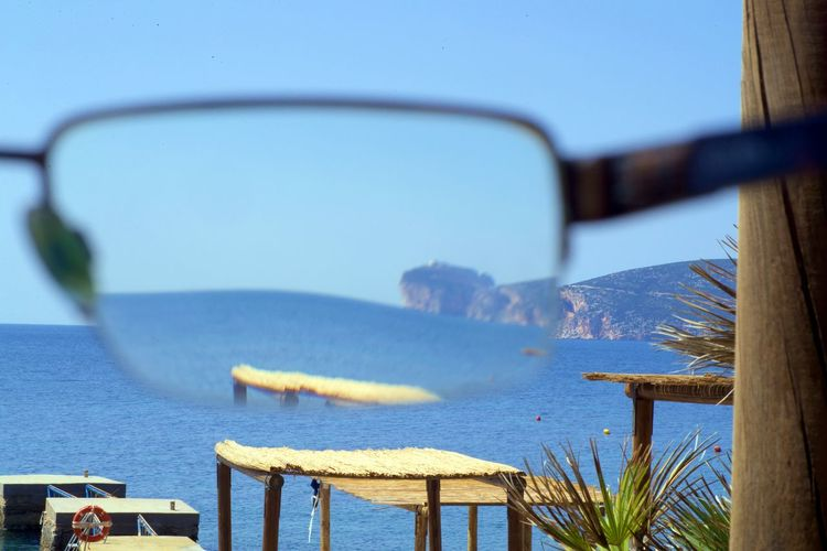 Clear Vision  Blue Day Focus On Foreground Nature No People Outdoors Sea Sky Through Glasses Tranquility