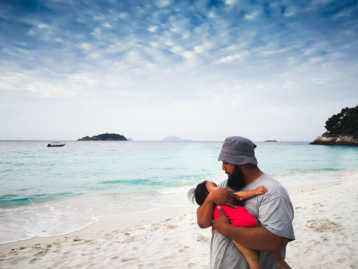 pulau redang, malaysia Sea Beach Water Land Real People Sky One Person Leisure Activity Beauty In Nature Scenics - Nature Lifestyles Cloud - Sky Horizon Nature Horizon Over Water Day Three Quarter Length Sand Outdoors