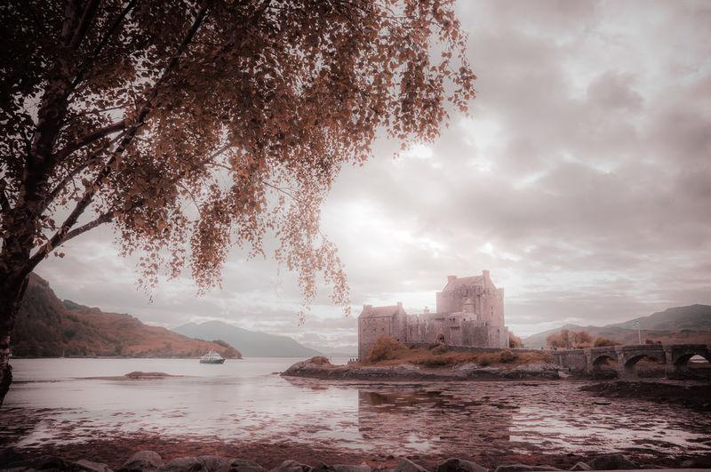 Fantasy colors panorama of eilean donan castle, dornie, scotland