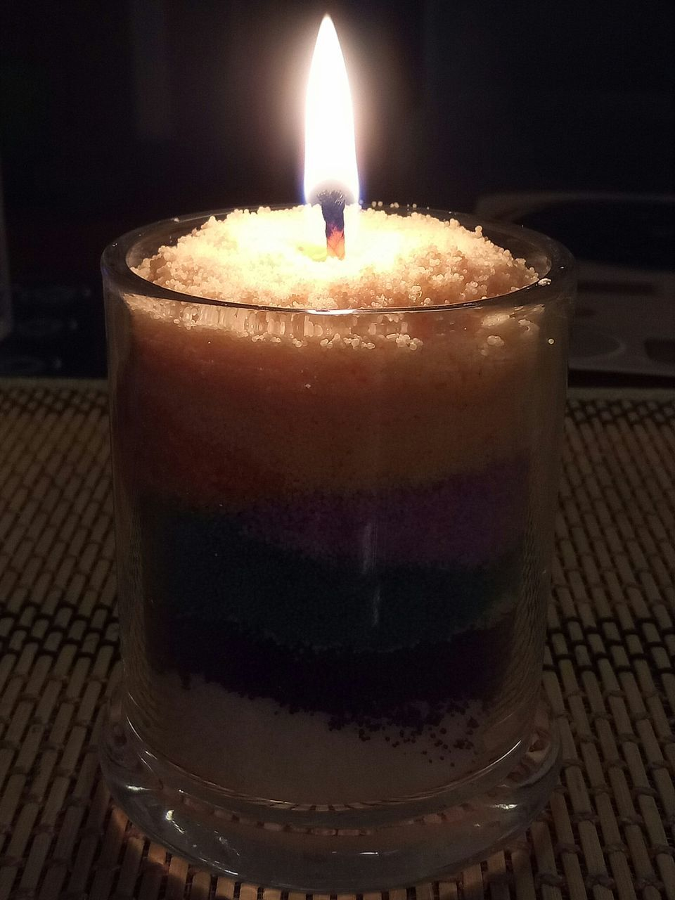 candle, flame, burning, glowing, close-up, illuminated, heat - temperature, indoors, night, focus on foreground, no people