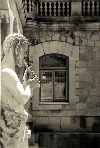 Black & White Building Exterior Crimea Satyr Sculpture Window