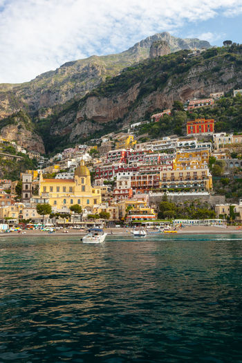 Amalfi Coast Architecture Bay Building Building Exterior Built Structure City Cloud - Sky Colorful Day Italy Mountain Nature Nautical Vessel No People Outdoors Positano Residential District Sea Travel Destinations Urban Water Waterfront