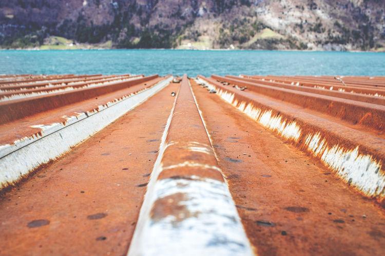 Surface level of rusty corrugated iron