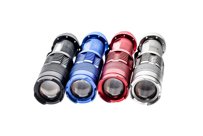 Aluminium metal LED flashlight torch isolated on white background. Different color small aluminum hand flashlight. Industrial Isolated LED Lantern Pocket Watch Power Security Torchlight Aluminium Battery Color Colour Energy Flashlight Isolated White Background Led Lights  Metal Object Search Searchlight Small Tools Torch Torches