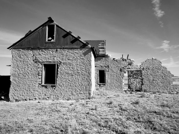 """Mystery Ranch"" No. 3 in series. Up close and personal. Closeup New Mexico Photography New Mexico Abandoned Buildings Abandoned Places Stone Buildings Blackandwhite Photography Blackandwhite Architecture Built Structure Building Exterior Abandoned House No People Exterior"