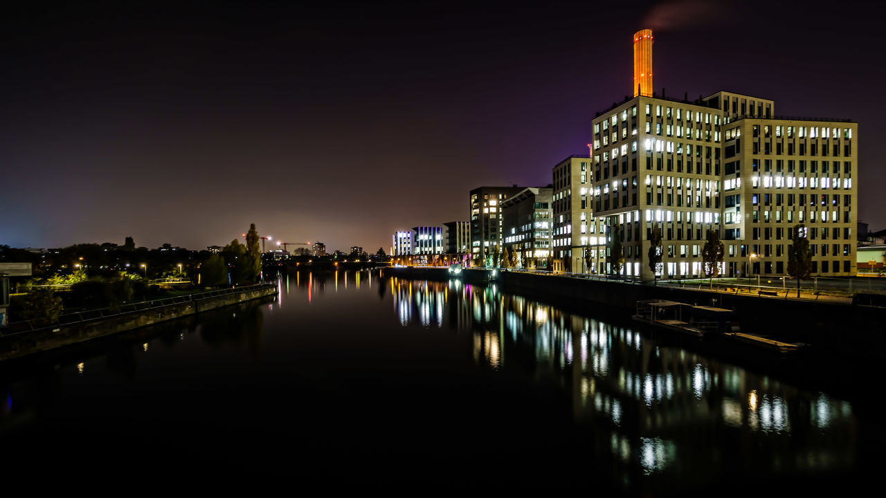 Reflections - Osthafen/Frankfurt am Main Architecture Building Exterior Building Story Built Structure Canal City City Life Cityscape Illuminated In Front Of Longtimeexposure Modern Night Osthafen Frankfurt Reflection Residential District Sea Sky Skyline Skyscraper Standing Water Travel Destinations Urban Skyline Water Waterfront