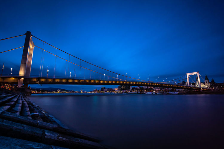 Illuminated Night Lights Night Long Exposure Copy Space Evening Sundown Sunset Bay Dusk No People Nature Travel Destinations Blue Suspension Bridge Transportation River Sky Built Structure Architecture Connection Bridge - Man Made Structure Water Bridge Riverside