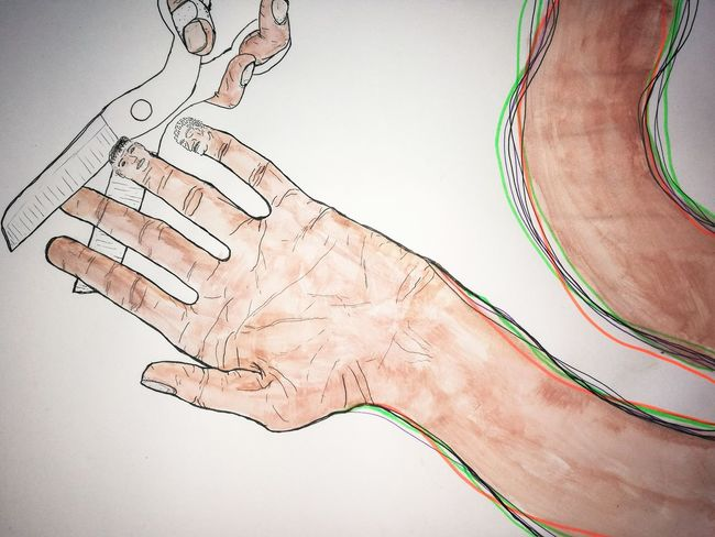 Close-up Human Body Part Human Hand Adult White Background Sketchbook Sketch Paint Painting Drawing Pilipinas Philippines Filipino Artist Filipino Art Unipin Artline Fineline Ink Watercolour Watercolor Face Illustration Hands Arts Culture And Entertainment Scissors