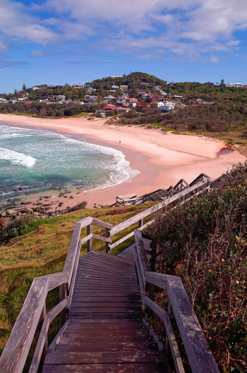 Wooden Steps Lighthouse Beach Port Macquarie Australia Sea Sea And Sky Water Cloud - Sky Outdoors Day Sky Scenics No People Nature Beauty In Nature Holiday Vacation High Angle View Sunny Day