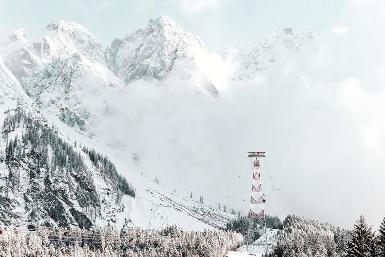 Zugspitze Mountain Tranquility Alps Mountain View Mountains And Sky Enjoying The View Bavaria Bayern Zugspitze Landscape Betterlandscapes Silence No People Power In Nature Scenics - Nature Nature Gondola Lift Cold Temperature Winter Snow Sky Rock Formation Foggy Scenics Tranquil Scene Countryside Ski Resort  Calm Ski Pole Spruce Tree