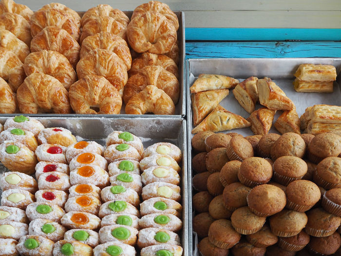 High Angle View Of Food For Sale In Bakery