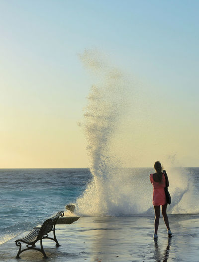 Beauty In Nature Clear Sky Horizon Horizon Over Water Lifestyles Motion Nature Outdoors Power In Nature Real People Scenics - Nature Sea Sky Water Waves Crashing Women A New Perspective On Life