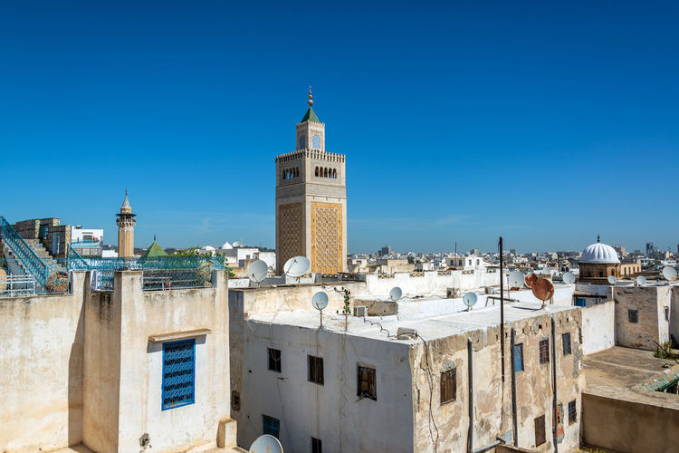 Cityscape of Tunis, Tunisia with the Al Zaytuna Mosque visible Cityscape Medina Mediterranean  Travel Tunis Tunisia Zaytuna Africa Arabic Architecture Building City House Islam Landmark Mosque Outdoors Religion Residential District Spirituality Street Tourism Tower Traditional Travel Destinations