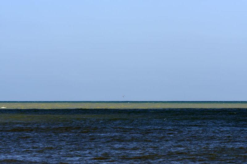 winter seascape Polluted Water Seascape Rough Sea Multicolored Stripes Striped Panorama Winter Horizon Over Water