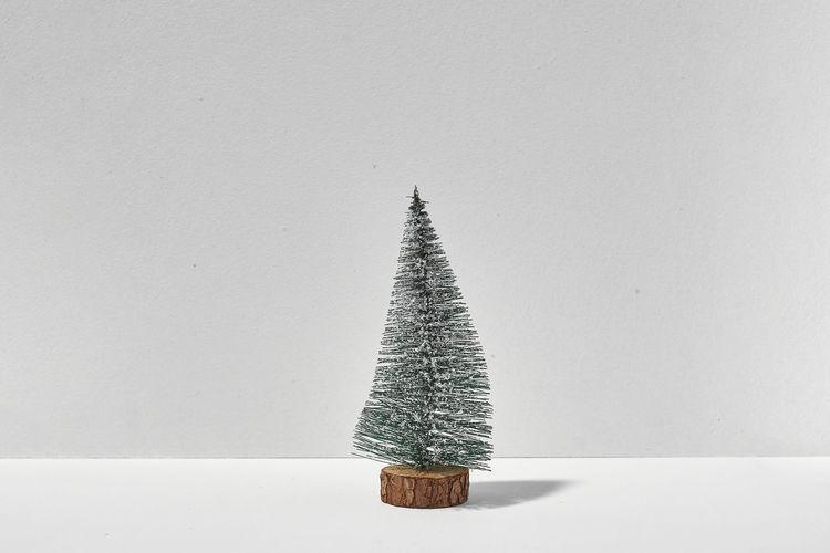 Illuminated christmas tree on white wall