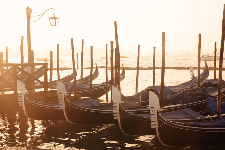 gondolas in Venice at sunrise Venice Venice, Italy Venezia Italy City Cityscape Landmark Famous Place Travel Destinations Gondola - Traditional Boat Gondolas Water Sunset Gondolas Venice Nautical Vessel Transportation No People Sea Wooden Post Outdoors Traditional