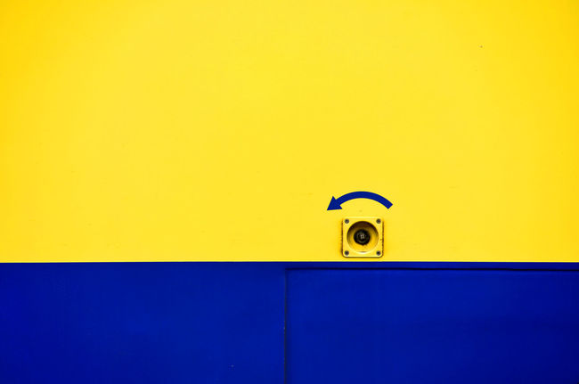[ turn left ] Textures Architecture Backgrounds Blue Built Structure Close-up Day Door Entrance Full Frame Handle Metal Minimal Minimalism Minimalism_masters Minimalistic Minimalmood Minimalobsession No People Protection Security Texture Yellow