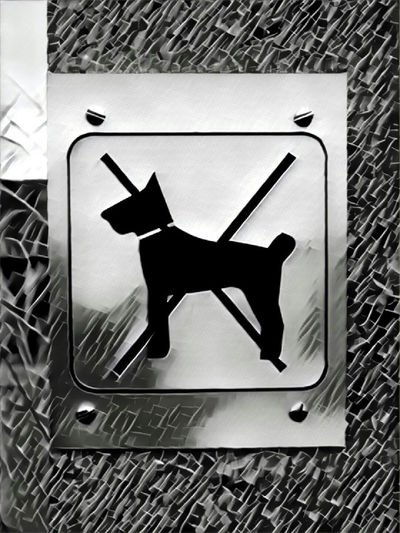 Black Sign No Dog Sign No Dog Panel Silhouette Metallic X Plaque Metallique Black And White Effects