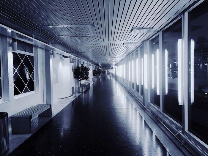 Bored at airport. Arlanda Airport The Way Forward Corridor Architecture Indoors  Built Structure Illuminated No People