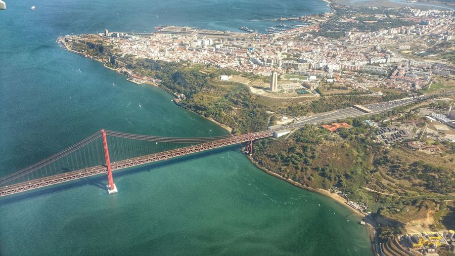 Portugal Lisbon Lisboa Bridge25April Christo Rei Airplaneview
