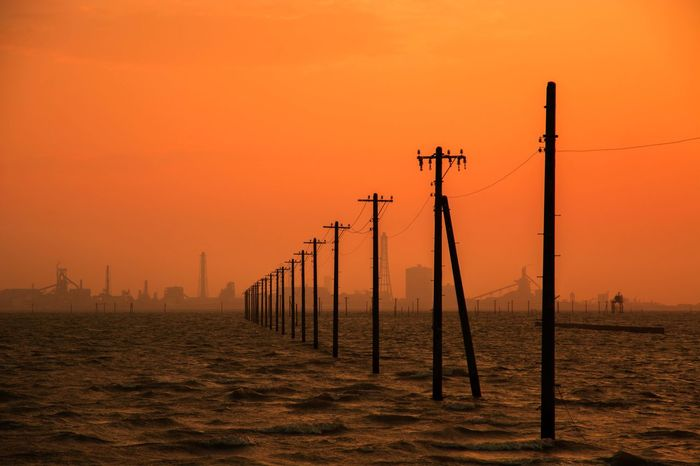 Japan Sunset Autumn Pole Sea Orange