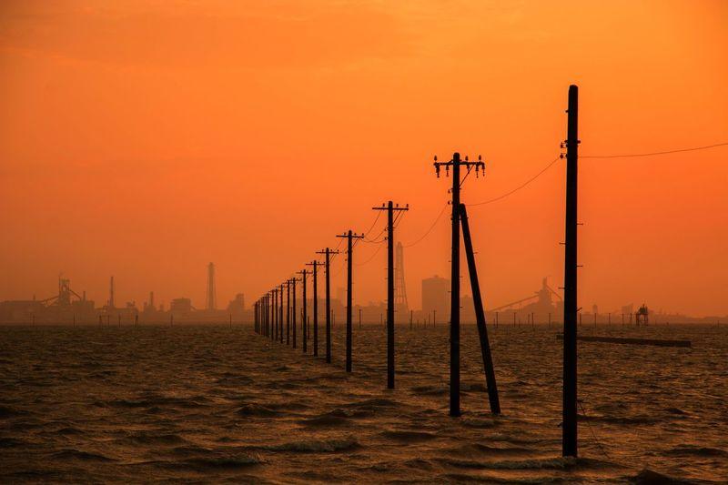 Japan Sunset Autumn Pole Sea Orange