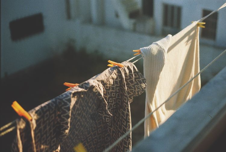 High angle view of clothes drying on clothesline