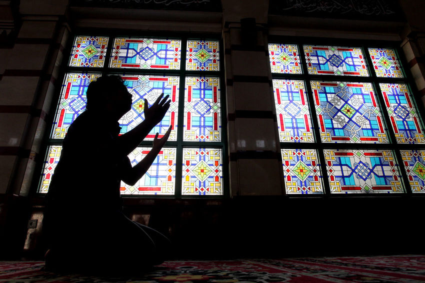 Man Praying at Holy Ramadhan Fasting Fasting Month Indoors  Islam Moslem Mosque Obedience One Person People Ramadhan Ramadhan Kareem  Ramadhan2015 Religion