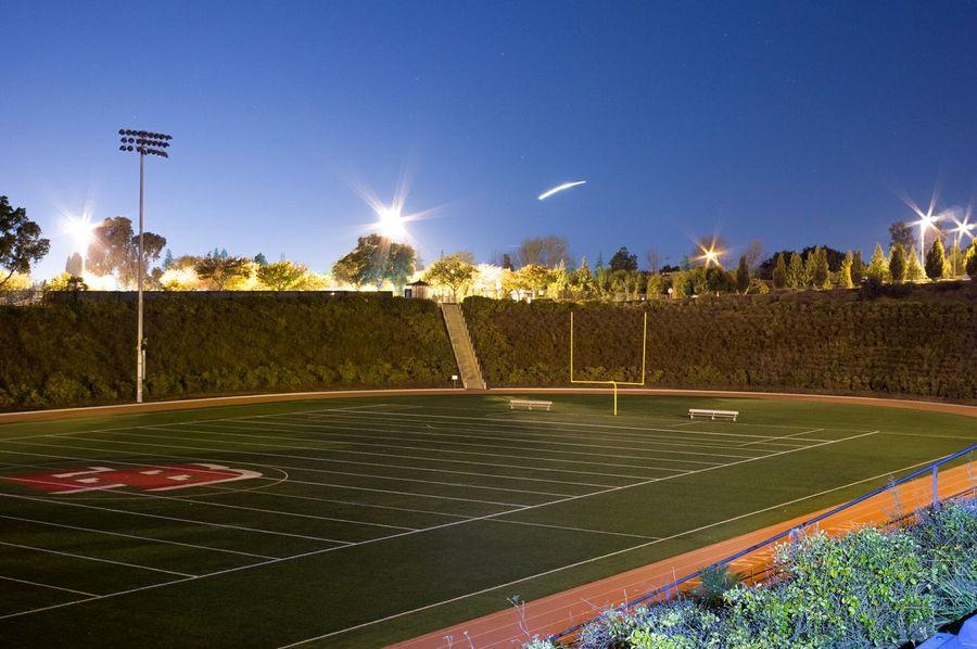 Pioneer Stadium at Night CSU East Bay Hayward California, Overexposed in Lightroom Slowshutter Nightphotography