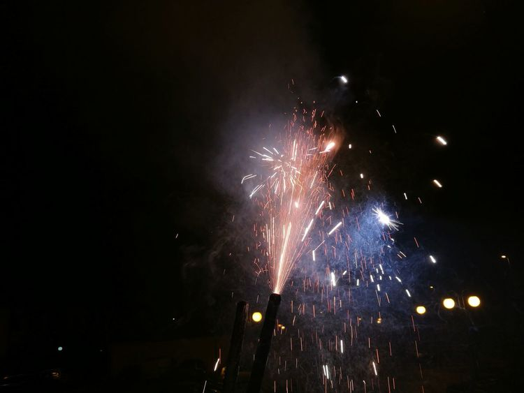 Mobile Photography New Year 2018 New Year Celebration Celebration Firework Display Exploding Firework - Man Made Object Arts Culture And Entertainment Night Event Celebration Event Outdoors No People Illuminated Long Exposure Blurred Motion EyeEm Ready