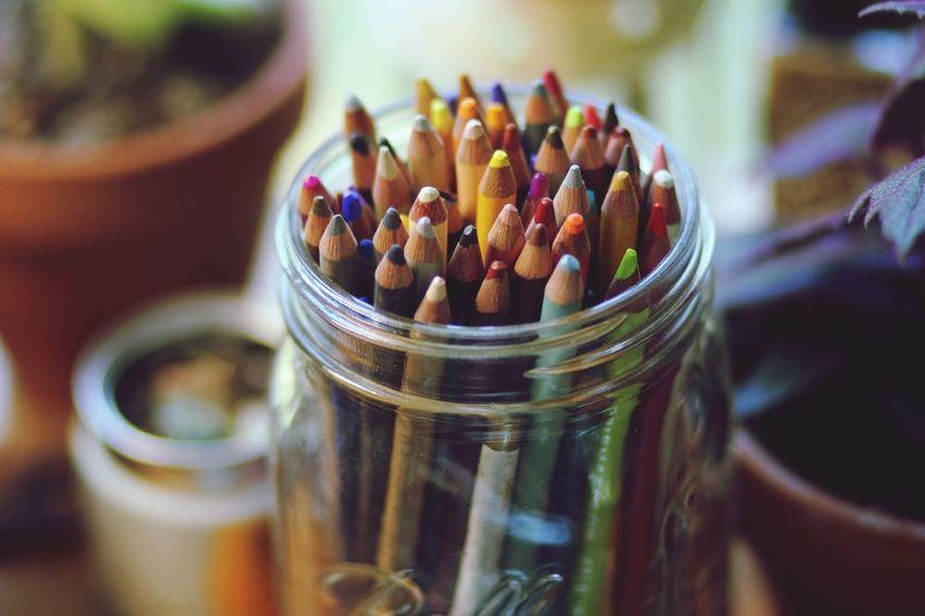 Pencils Pencil Art Art And Craft Close-up Colored Pencil Ball Jar Art Supplies Creativity Art Prismacolor Colors Rainbows