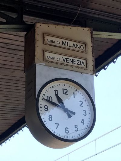 Time Low Angle View Number Clock Text No People Communication Day Built Structure Minute Hand Clock Face Close-up Indoors  Architecture Train Station Station Clock Italian Train Station Italy Italian Style
