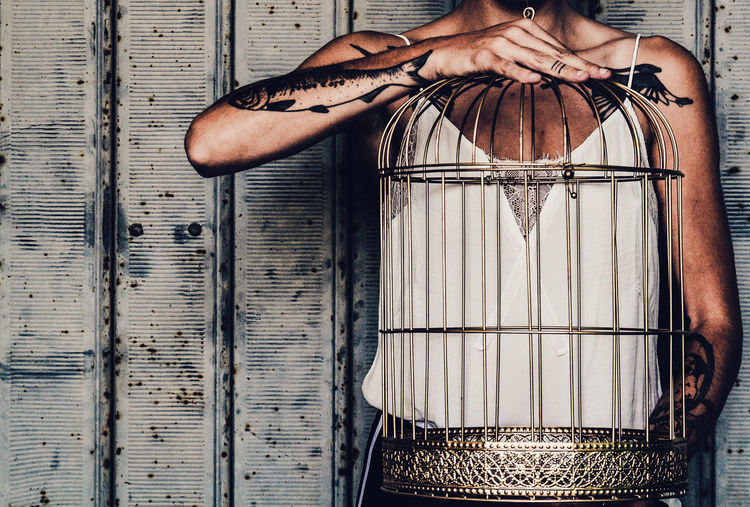 Cage Gold Cage Woman Hands Tattoo Bodyart Conceptual Art Conceptual Photography  Conceptual Texture Empty Freedom Fine Art Photography Prisoner Noface Faceless Door Visual Creativity My Best Photo