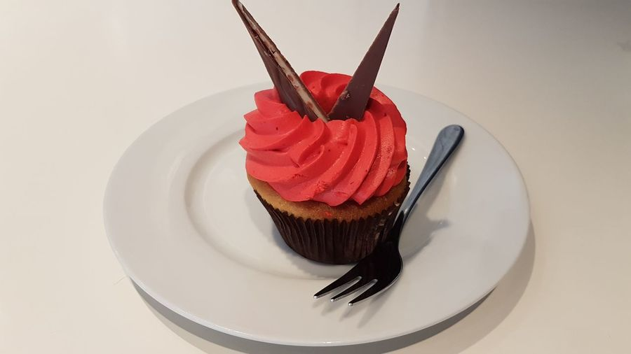 Cupcake Icing Sugary Foods Sweets Pastry Red Snack Foody Foodie Red Dessert Candy Fork Fruit Plate Cake Celebration Sweet Food