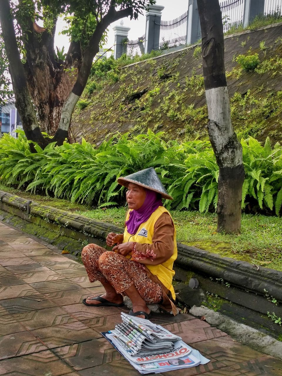 real people, traditional clothing, one person, outdoors, tree, basket, day, lifestyles, animal themes, people