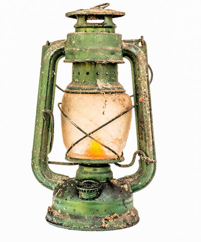 Old Green Lit Vintage Lamp Isolated On White Background Antique Close Up Cut Out Day