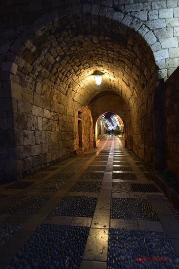 The Way Forward Arch Indoors  Tunnel Architecture Built Structure Illuminated No People Day street photography Byblos,Lebanon Street Photography Nightphotography Wall - Building Feature Tourism Travel Destinations