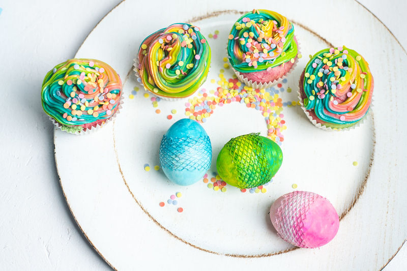 Easter time Light Calories Colorful Food Essen Muffin Cupcake Rainbow Cream Easter Spring Bright Colors Rainbow Sprinkler Eggs Spring Top View Foodphotography