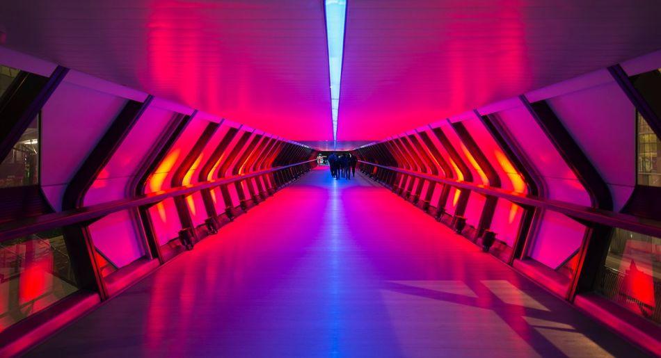 Illuminated empty corridor