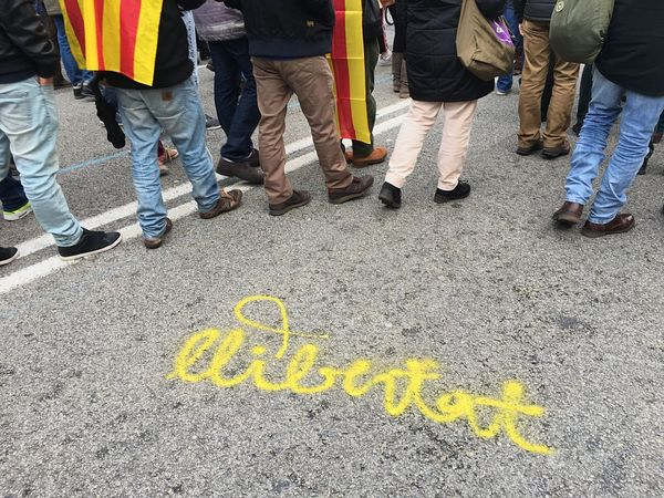 Catalan independent rally Catalan Flag Protesters Catalunya Liberty Political Rally Catalan Independence Low Section Text Group Of People Human Leg City Day Real People Street