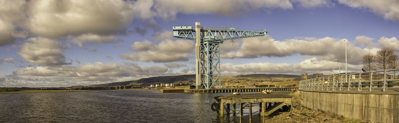 Titan Crane Panoramic Built Structure Clydebank Crane Engineering Famous Place Outdoors Panorama Reflection River Clyde Structure Titan