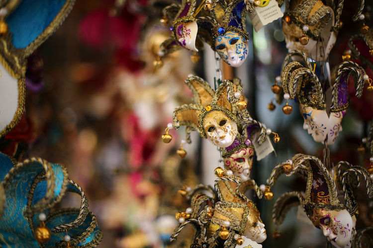 Art And Craft Arts Culture And Entertainment Carousel Choice Close-up Day Focus On Foreground For Sale Multi Colored No People Outdoors Venetian Mask Venice