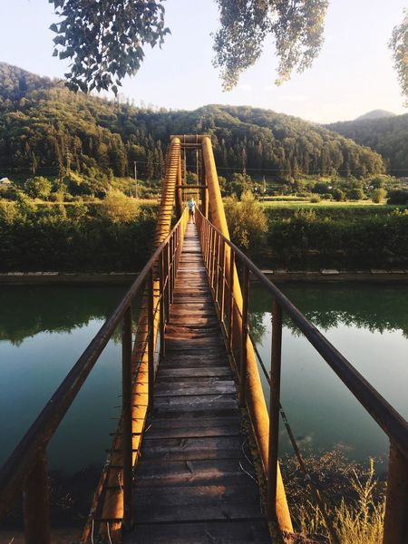 EyeEm Selects Nature Water Mountain Bridge - Man Made Structure Outdoors Connection Footbridge Wood - Material Afternoon