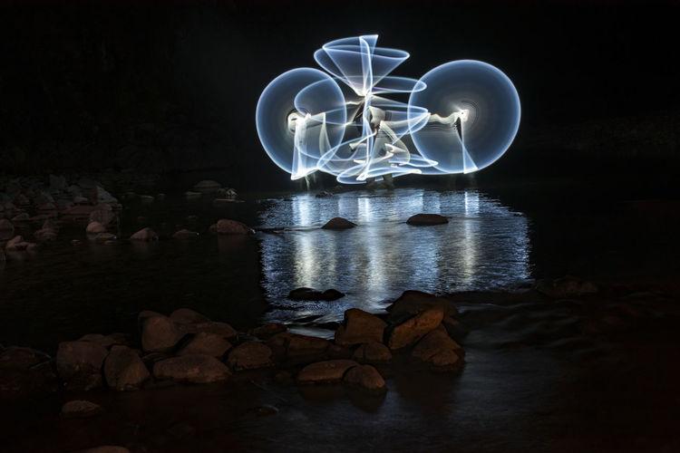 Light painting on rock at night
