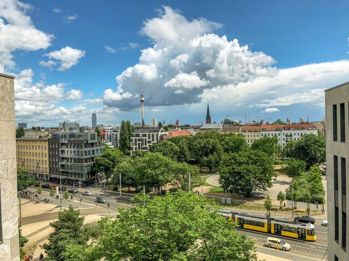 Panoramic view of Berlin Berliner Dom Alexanderplatz Berlin Photography Berliner Ansichten Berlin Cloud - Sky Building Exterior Architecture Built Structure Plant Sky Nature Tree City Day Building Residential District Travel Land Vehicle Sunny Sunlight